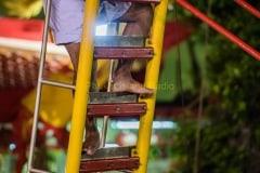 Blade ladder climbing at vegetarian festival
