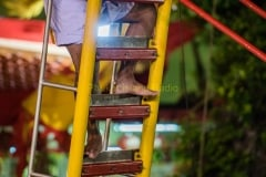 Blade ladder climbing at vegetarian festival