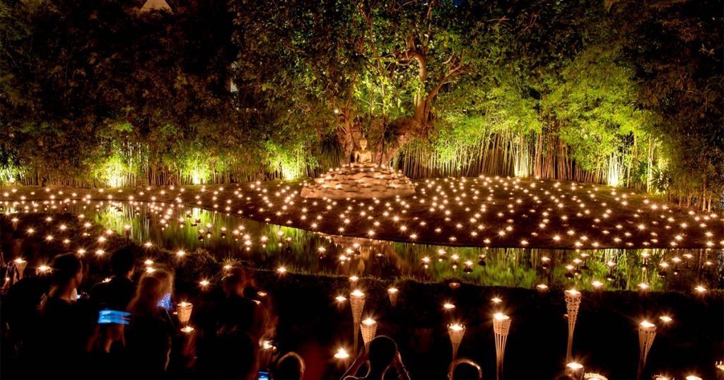 Asalha Bucha Day with candles